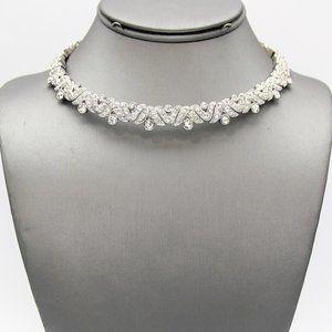 Rhodium Plated Crystal Pave Choker Necklace Set